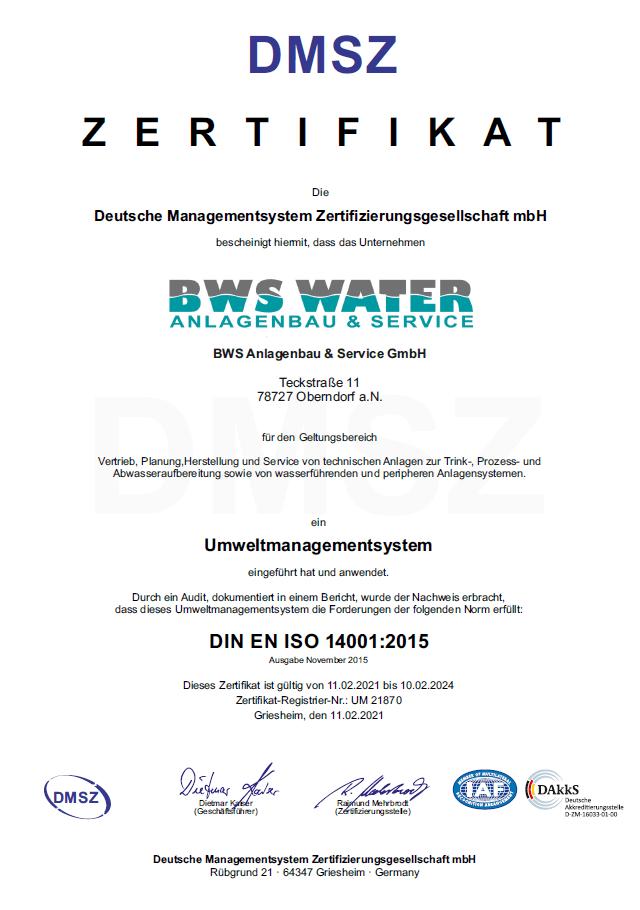 Zertifikat Umweltmanagement DIN EN ISO 14001