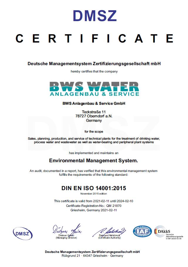 Certificate Environmental Management DIN EN ISO 14001