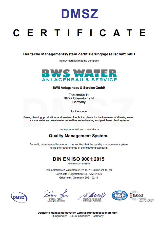 Certificate Quality Management DIN EN ISO 9001